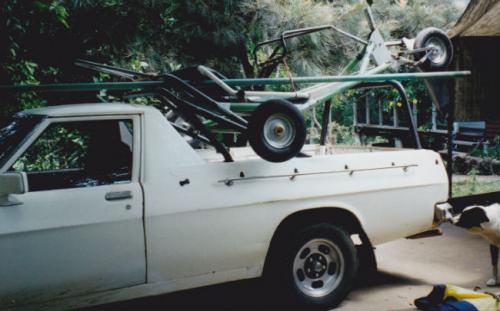 homemade landsailer on WB ute